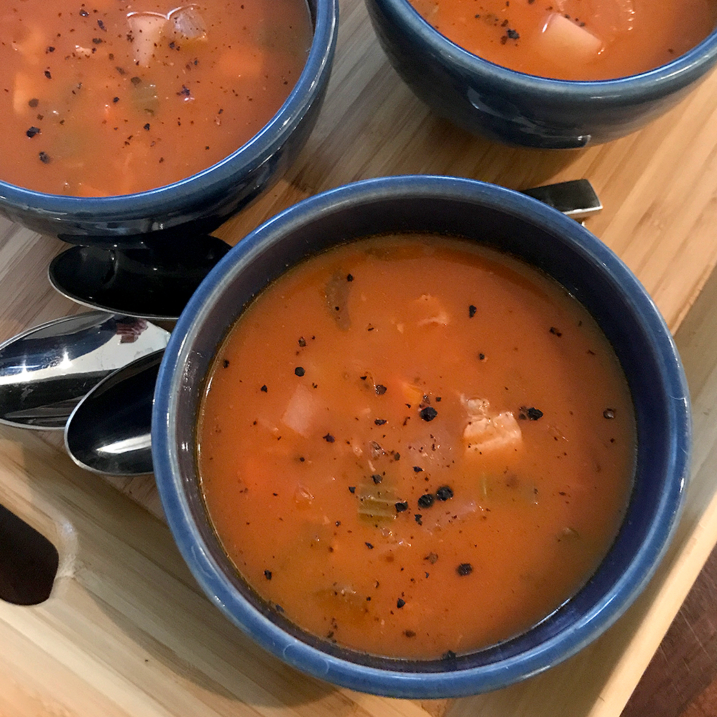 bowls of manhattan clam chowder