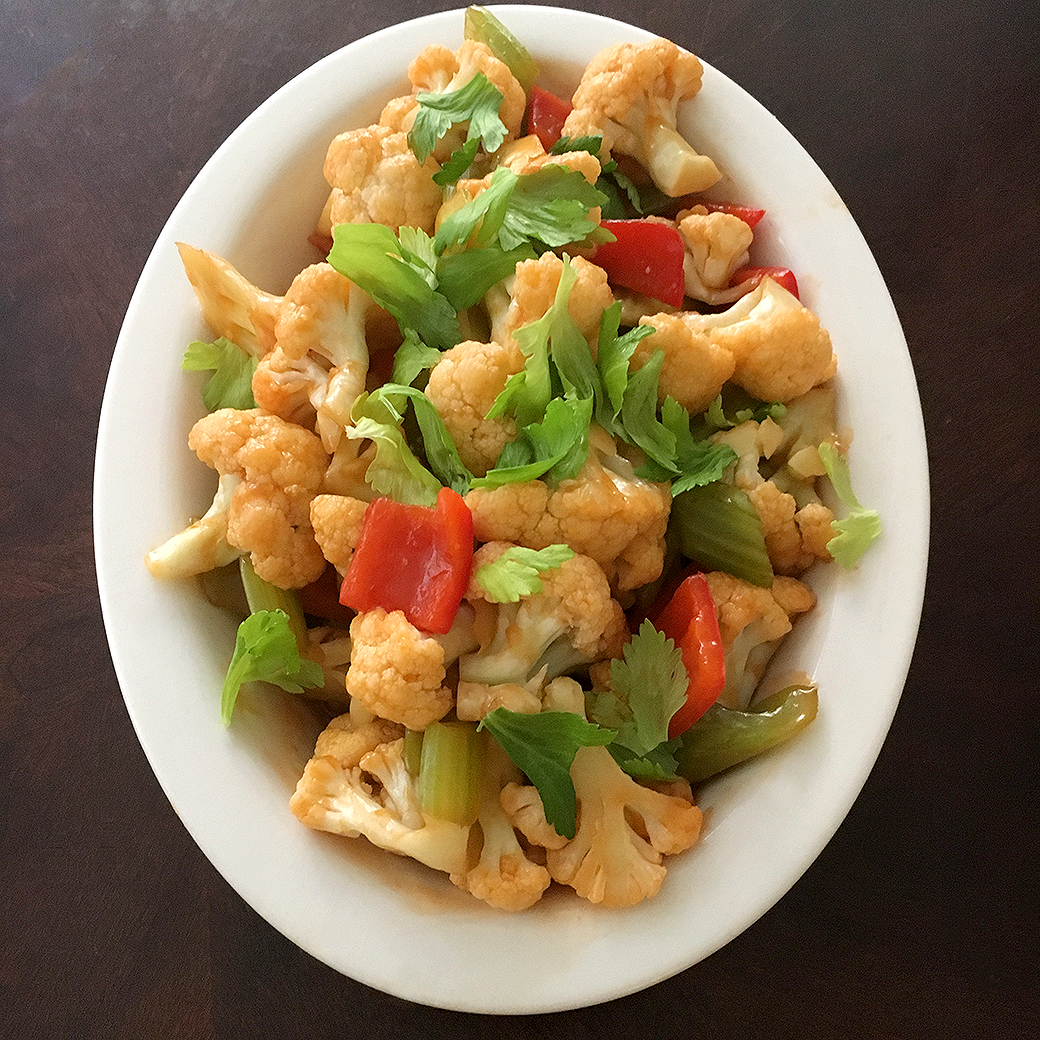 sweet-and-sour cauliflower in dish