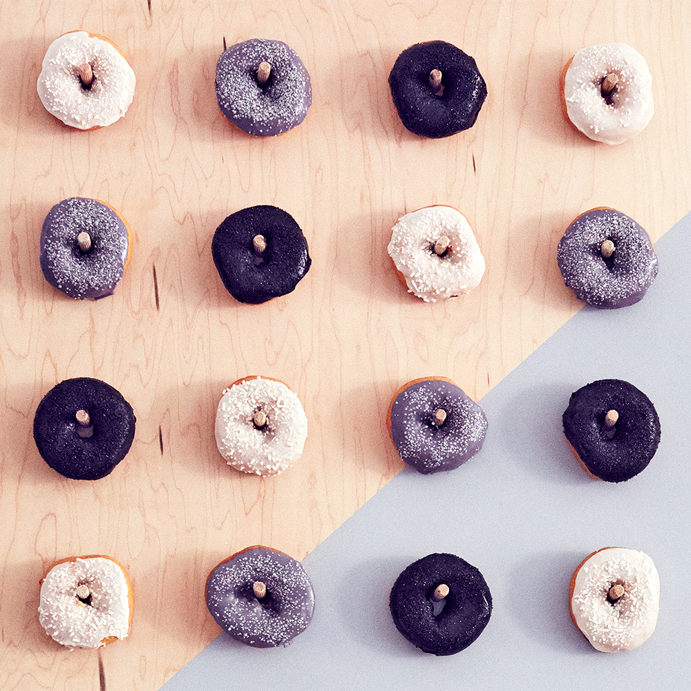 black and white halloween donuts