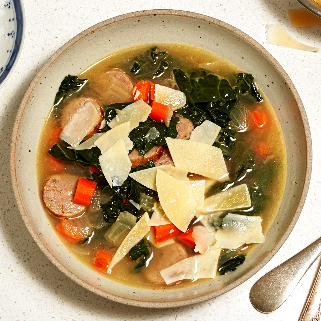 kale and sausage soup with parmesan