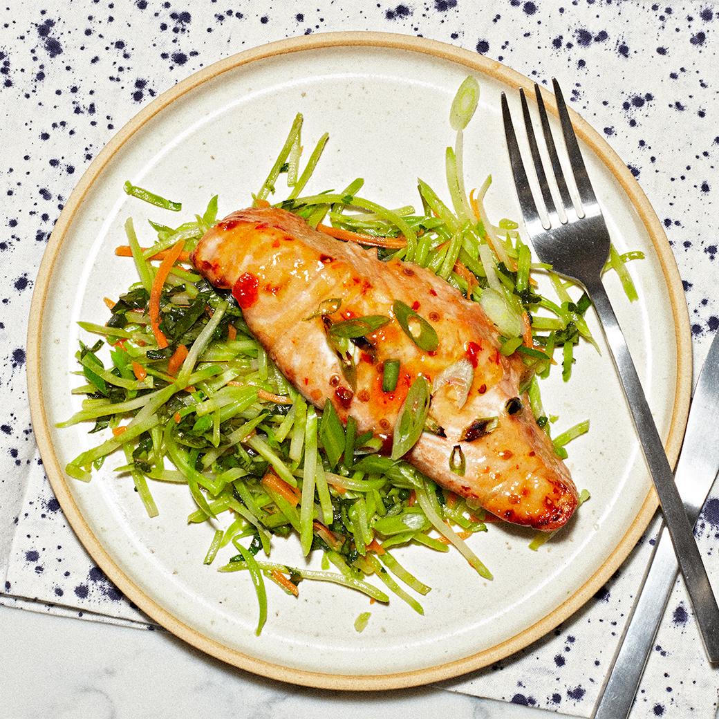 thai-glazed salmon on plate