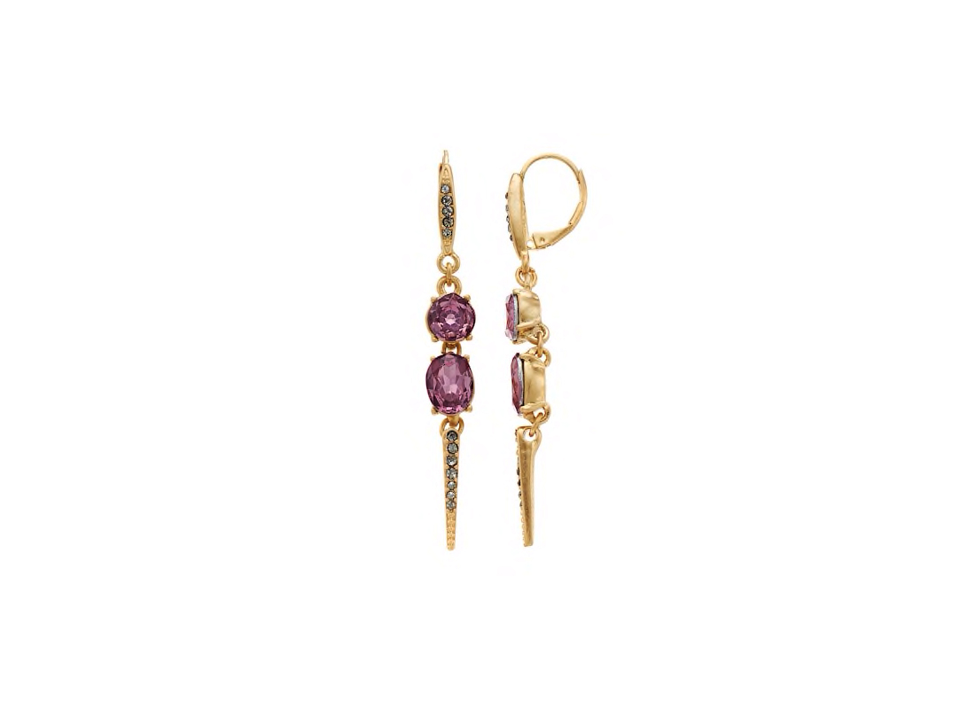 Simply Vera Vera Wang Purple Simulated Crystal & Stone Linear Spike Drop Earrings