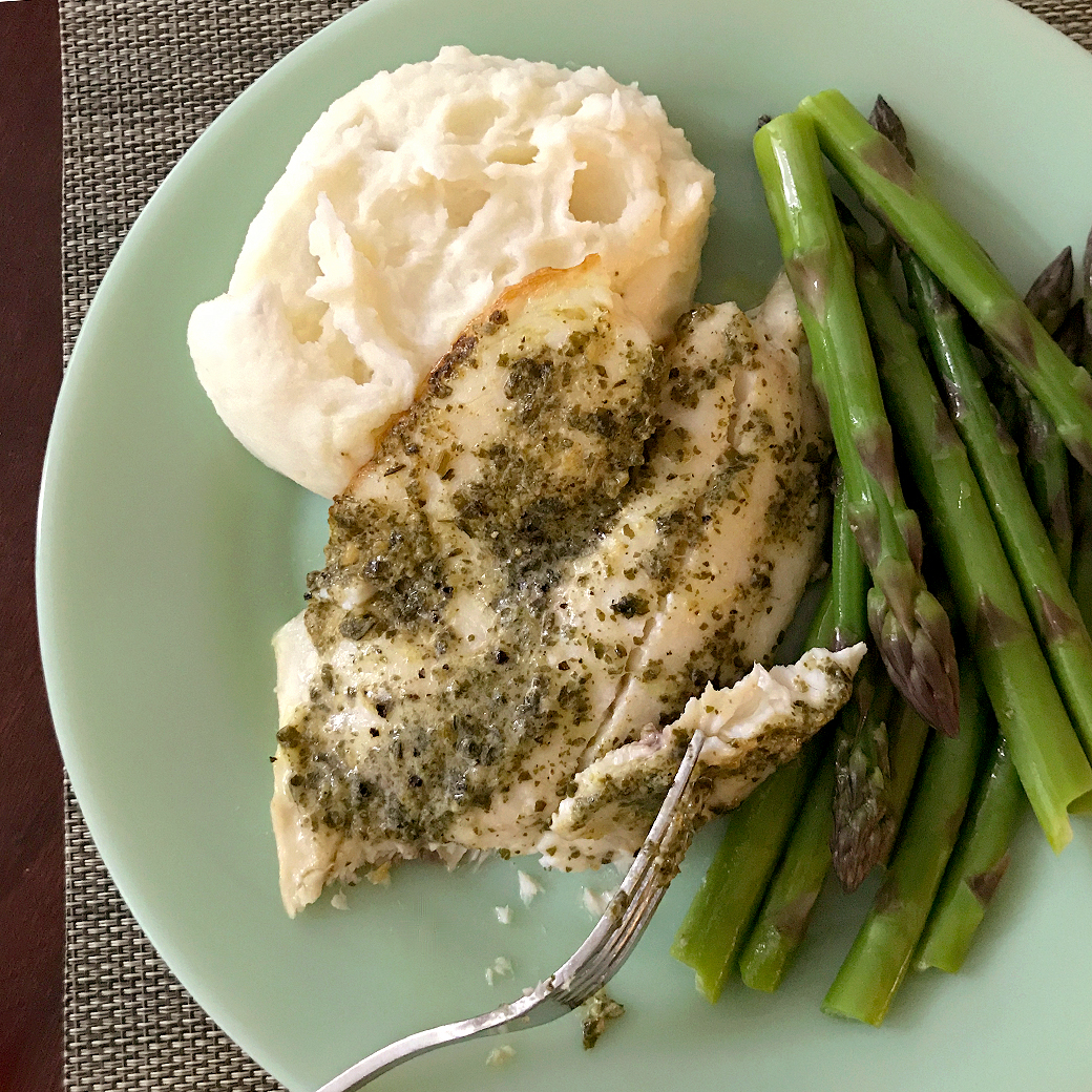 tilapia with pesto and asparagus