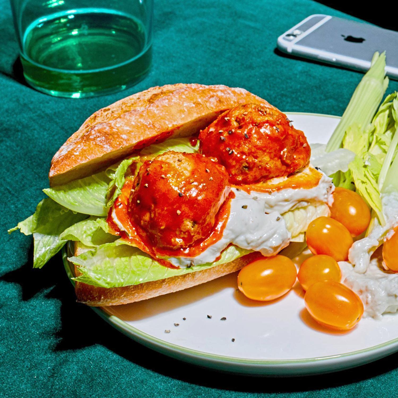 buffalo chicken meatball sandwich