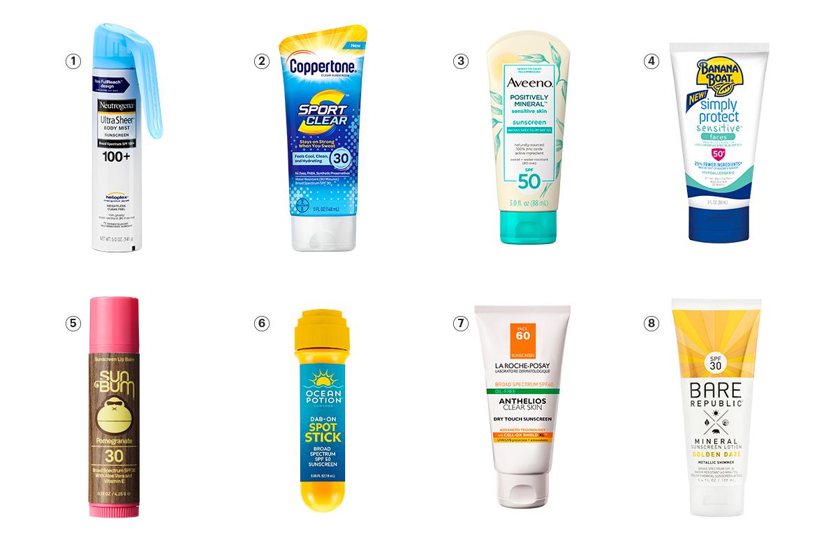 8 different sunscreens
