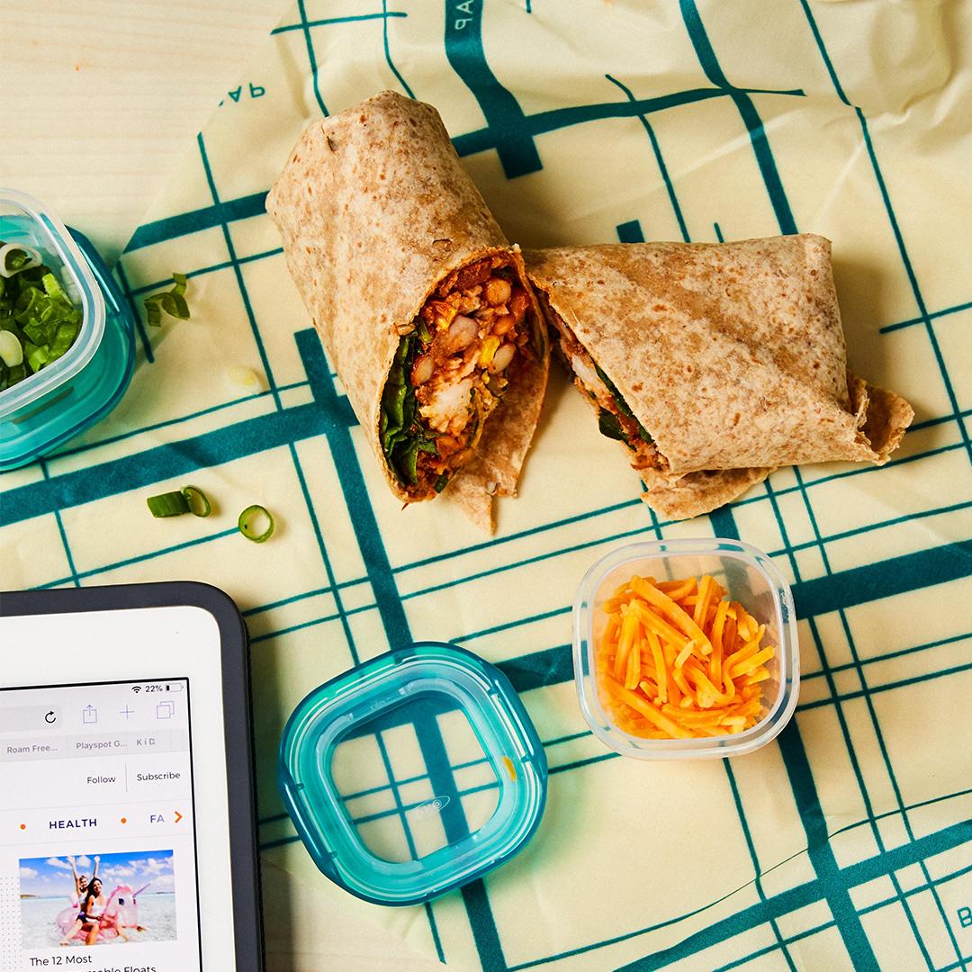 Chili, Rice and Spinach Burrito