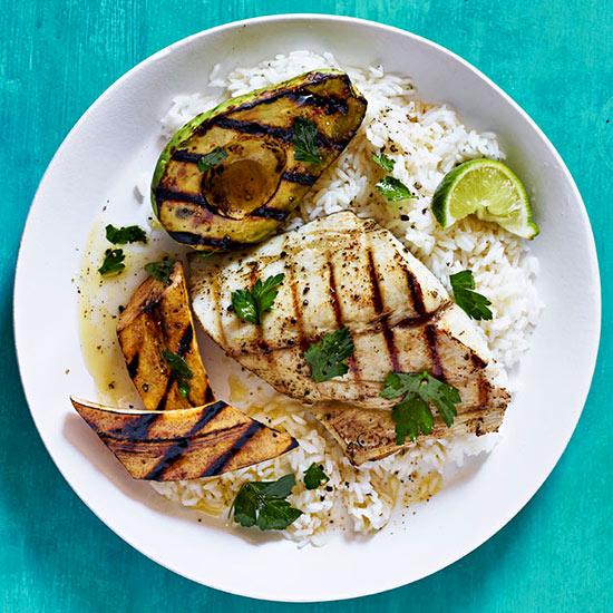 Mahi Mahi with Grilled Plantains and Avocado