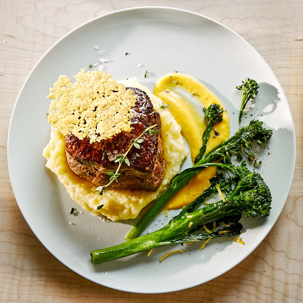 Cast-Iron-Seared Filet Mignon with Potato and Butternut Squash Puree, Broccolini and Parmesan Tuile
