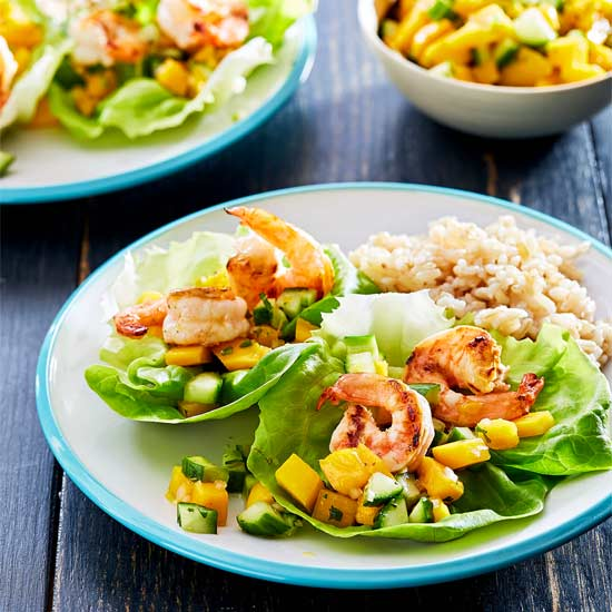 Shrimp in Lettuce Cups with Mango Salsa and Coconut Rice