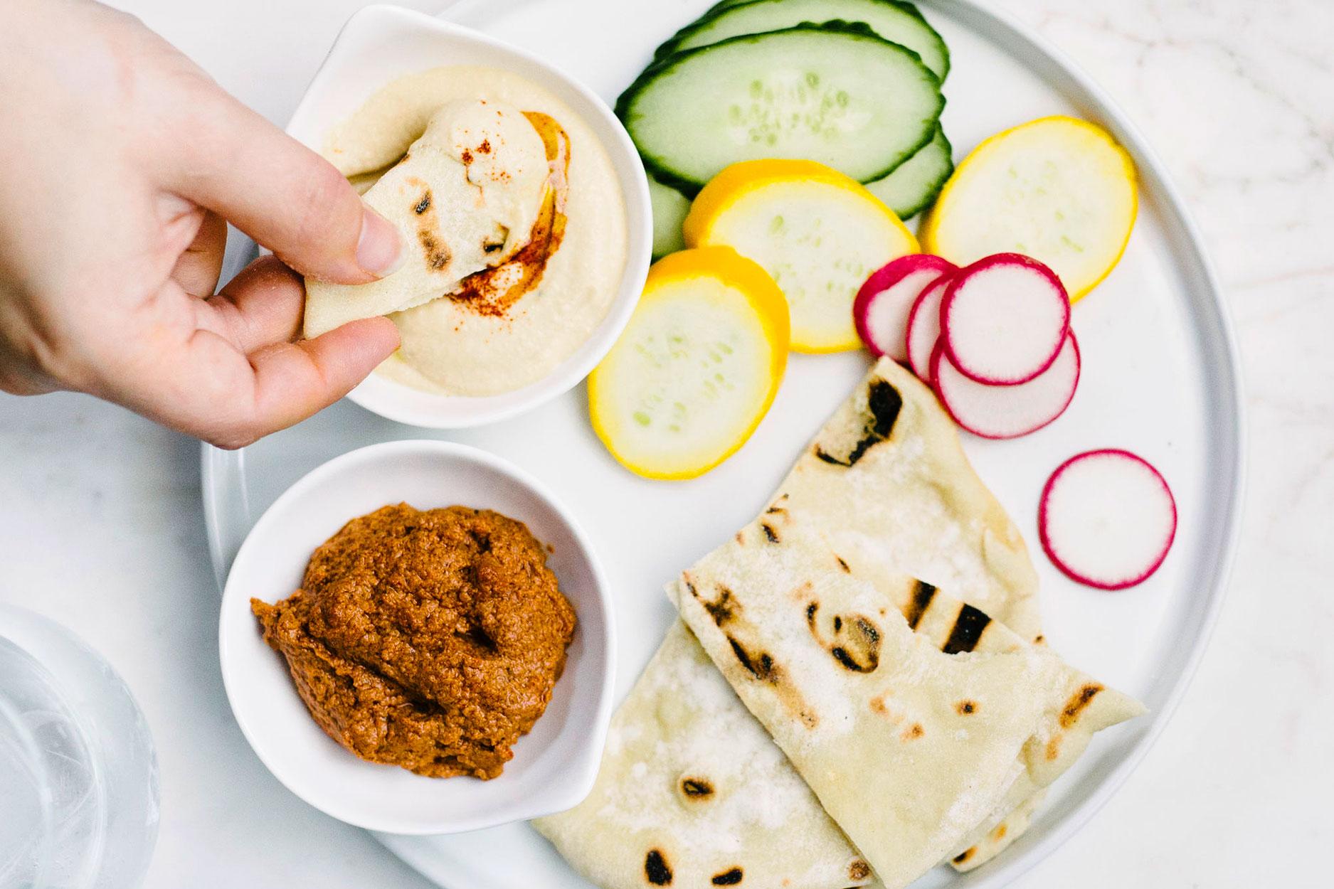 Hummus dip and vegetable dip spread