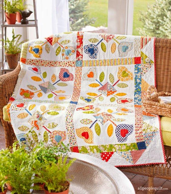 Flower Machine-Appliqué Quilts