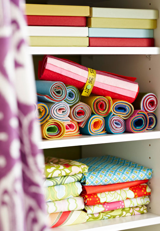 Rolled-Up Fabric Storage