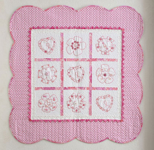 Quilt Pink Embroidered Hearts & Flowers
