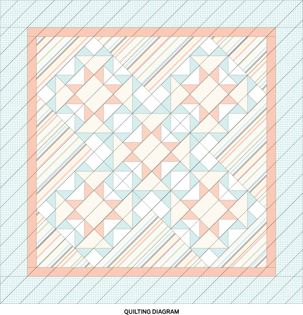 Fly by the Line Quilting Diagram