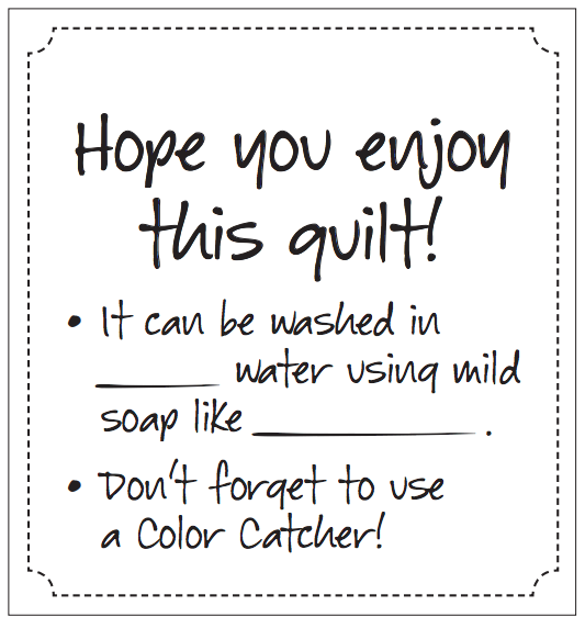 Quilt Care Tags