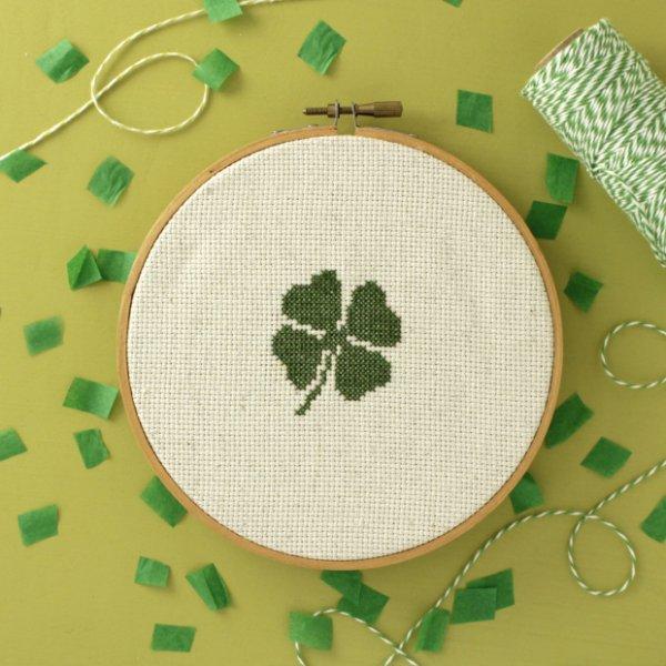 Four-Leaf Clover Cross-Stitch Pattern