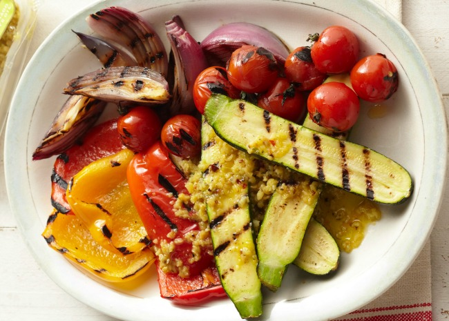 Grilled veggies on white plate