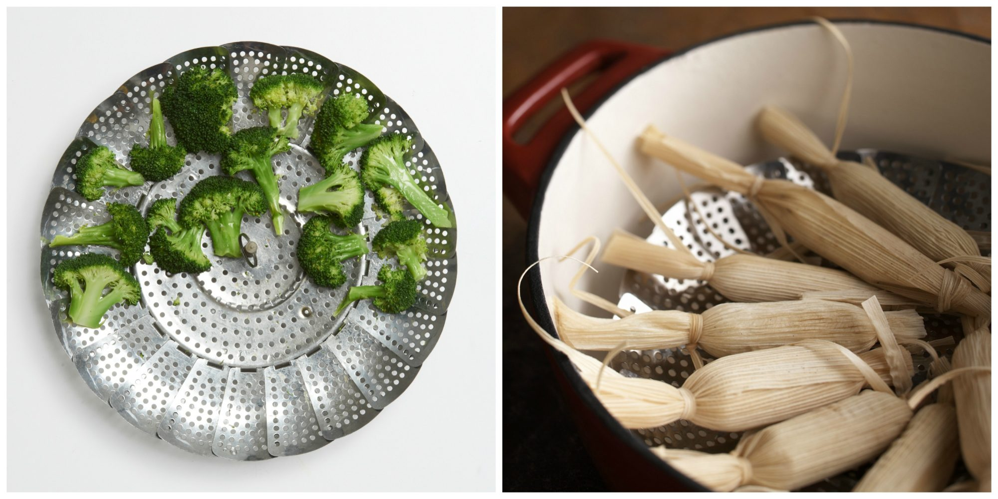 Collapsible Stainless Steel Steamer Collage