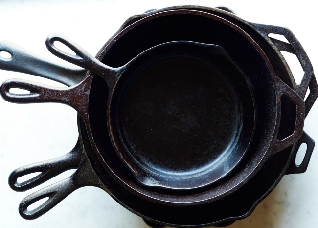Stack of Seasoned Cast Iron Pans
