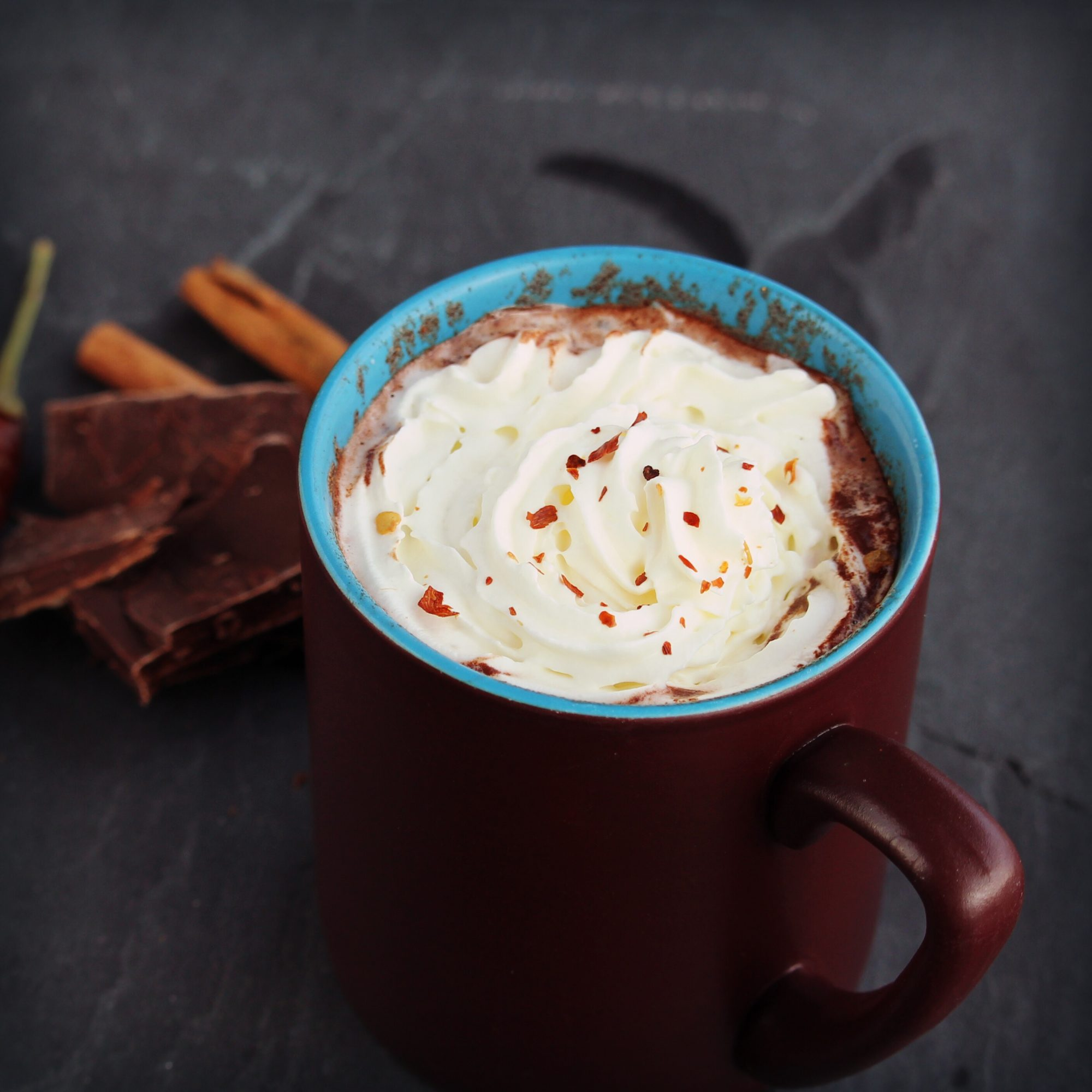 hot chocolate in a mug with whipped cream
