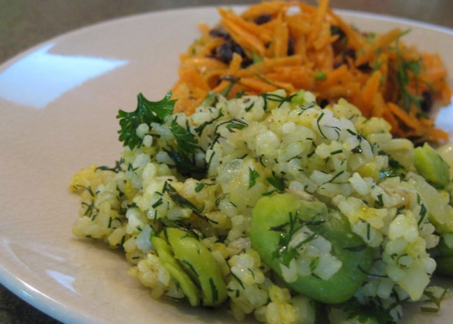Persian Sabzi Polo (Herb Rice with Fava Beans)