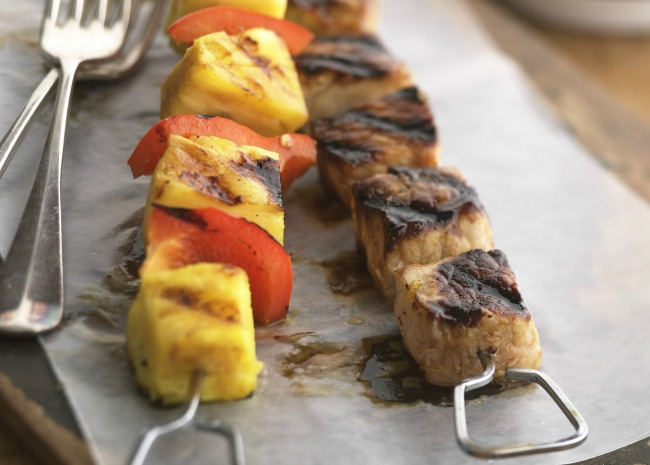 Marinated pork and pineapple kabobs