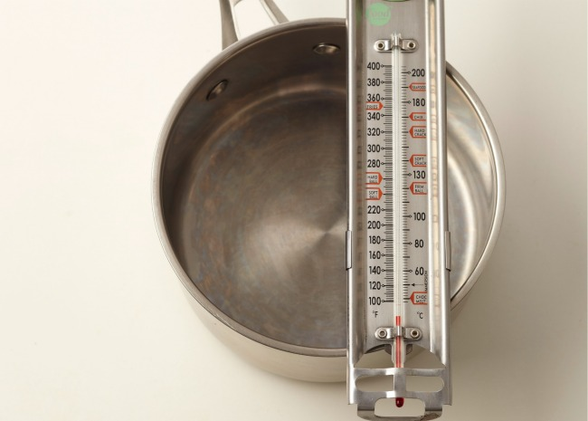 Saucepan and Candy Thermometer for Making Fudge