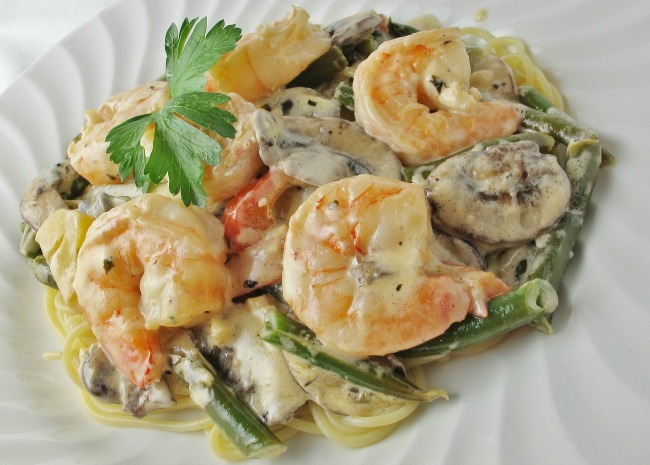 Shrimp and Mushroom Linguini