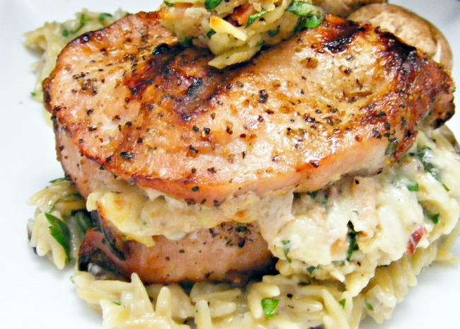 Pork Chops Stuffed with Smoked Gouda and Bacon