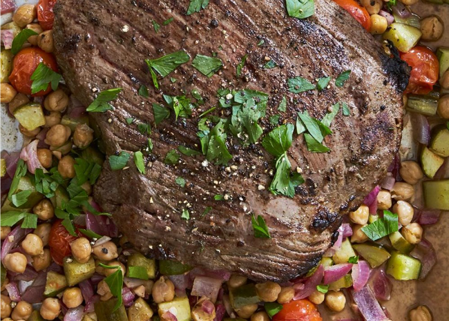Greek Flank Steak and Veggie Salad