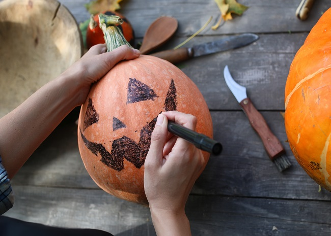 Trace your design on the pumpkin