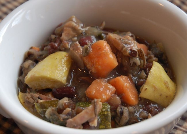 Chicken Soup with Adzuki Beans, Escarole, and Sweet Potato