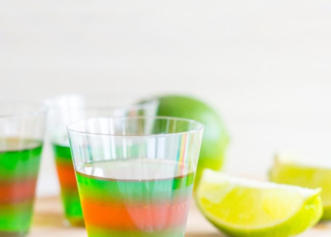 Layered Margarita Jell-O Shots