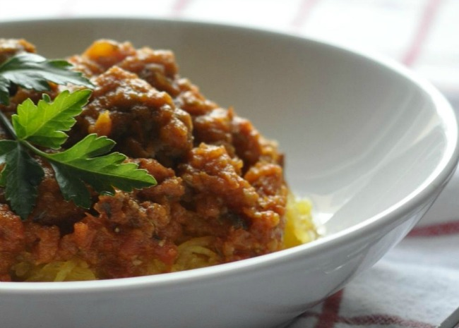 Spaghetti Squash with Paleo Meat Sauce