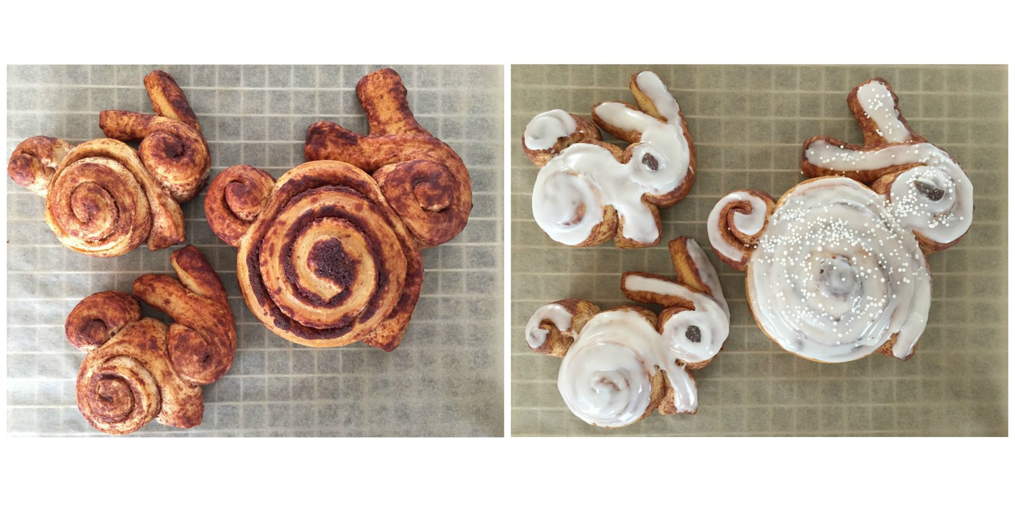Baked and Glazed Cinnamon Roll Mommy and Baby Bunnies Collage