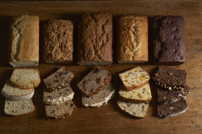 Chocolate bread, banana bread, nut bread, zucchini bread