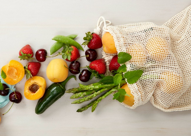 Fruits and veggies in mesh bag
