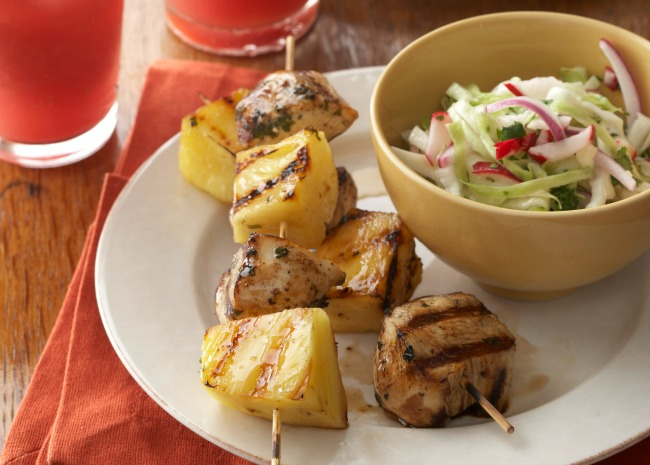 Chicken and Pineapple Skewers with Slaw