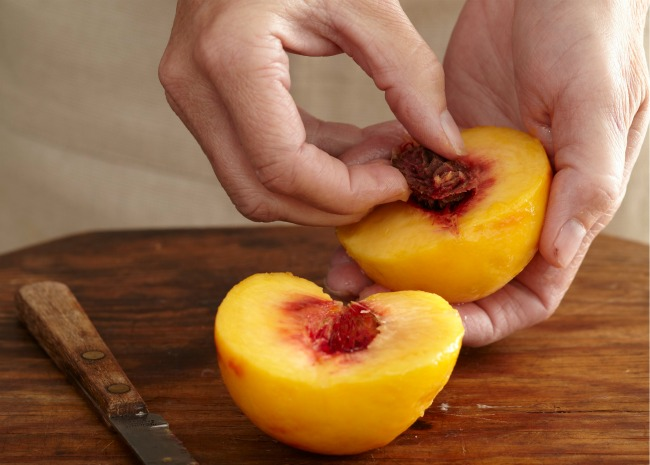 Removing the Pit from a Peeled Peach