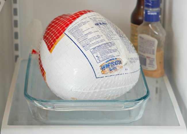 Thawing a Turkey in the Fridge in a Pan