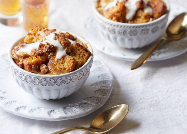 Cornbread and Sweet Potato Bread Pudding with Coconut Sauce