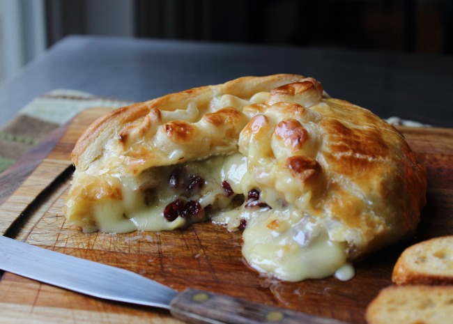 Baked Brie Stuffed with Cranberries and Walnuts