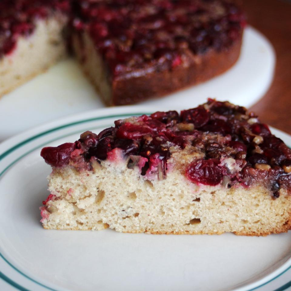 cranberry upside down cake on a plate