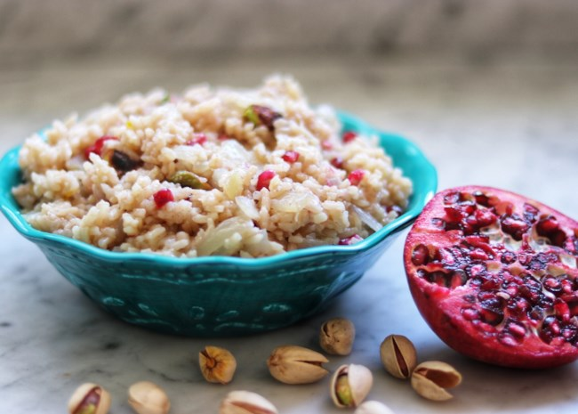 Middle Eastern Rice Pilaf with Pomegranate