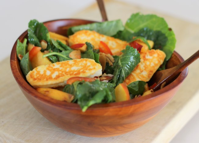 Spinach, Nectarine, and Halloumi Salad