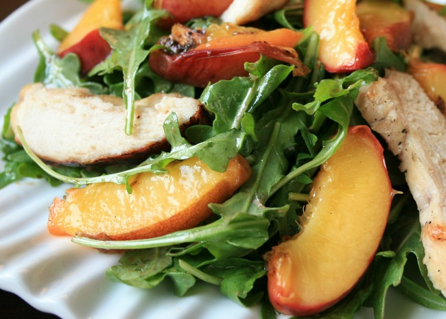 Grilled Chicken, Peach, and Arugula Salad
