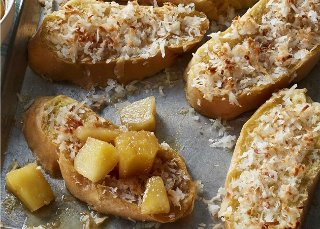 Baked Coconut French Toast with Pineapple-Rum Sauce