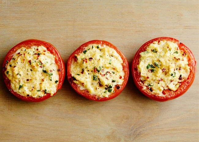 Stuffed Tomatoes with Grits and Ricotta