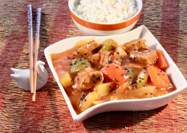 Instant Pot Sweet and Sour Pork in a white bowl