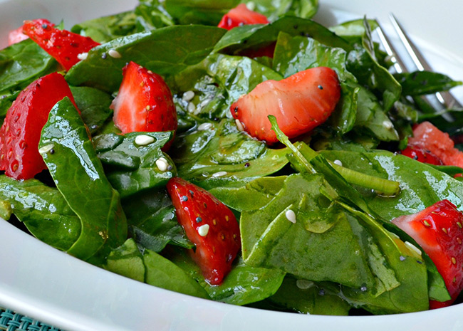 Strawberry and Spinach Salad with Simple Lemon Herb Chicken